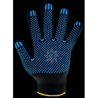 Перчатки хб ПВХ черные 10 класс 4 нити